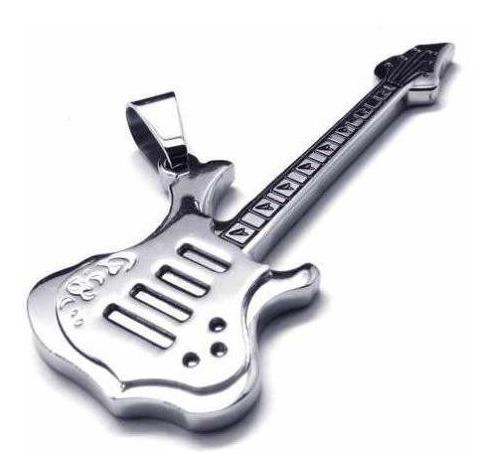 Colar Unisex Em Couro Ecológico Guitarra ! !