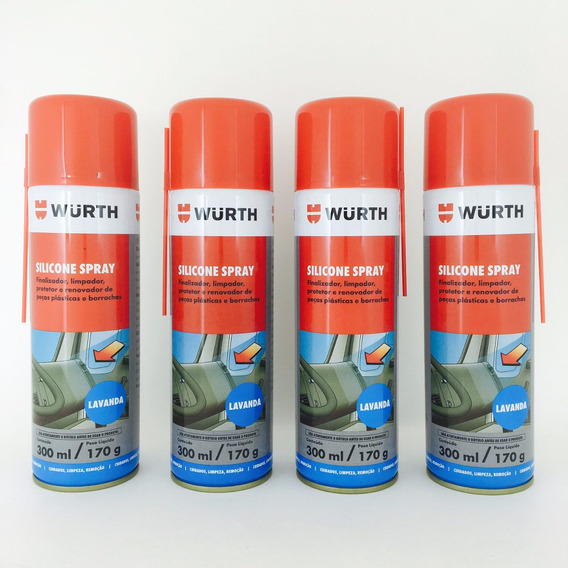 Kit Com 4 - Silicone Spray Wurth Lubrifica Esteira Moto Ind