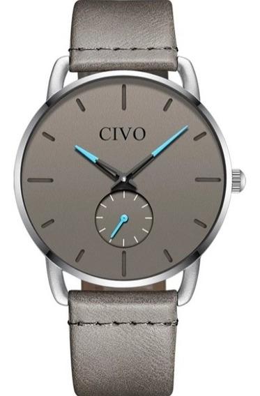 Relógio Civo Masculino Cinza Casual Esportivo De Luxo A Prova D