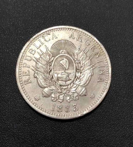 Moeda Antiga Argentina 1883 50 Cents - Prata