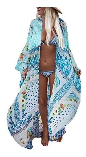 Bsubseach Kimono Para Mujer, Diseno De Flores De Playa, Para