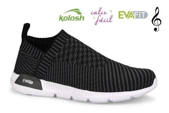 Tenis Feminino Cabedal Malha Calce Fácil Kolosh K8484