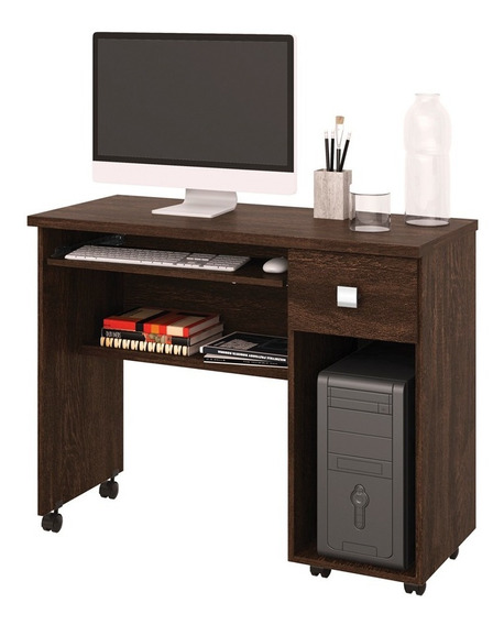 Mesa Escrivaninha Computador Vicenza Com Gaveta Noce