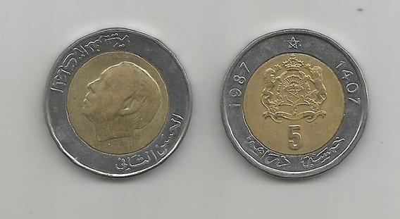Moneda Marruecos 5 Dir. 1987 Muy Buena