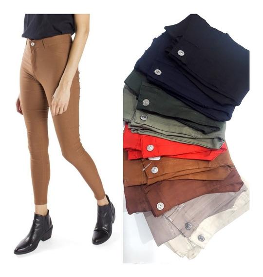 Pantalones Spandex Elastizado Bengalina Beige, Negro Y Mas
