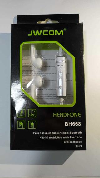Fone Ouvido Bluetooth Branco C/micro Hard Jwcom Bh-668