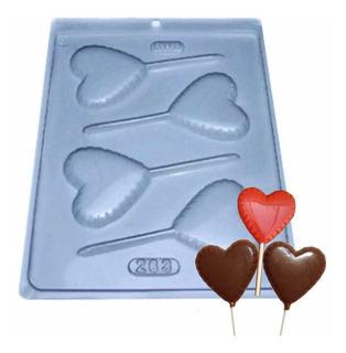 Forma Pirulito Chocolate Coração Ref. 263 - 5 Unid