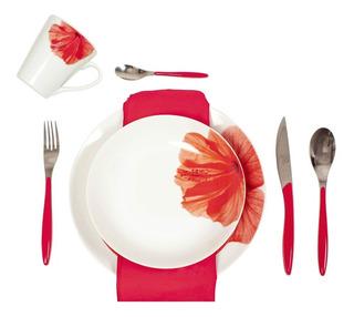 Vajilla De Porcelana Con Cubiertos Rojos Para 4 Personas