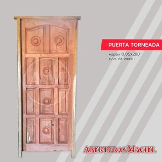 Puerta De Algarrobo Exterior Estilo Torneada 12- 15tableros