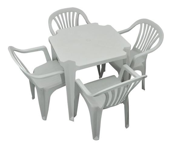 Conjunto Jogo 1 Mesa 4 Cadeiras Poltrona Plástico Boa Vista