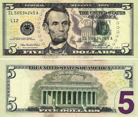 Cédula Nota Cinco (5) Dólares Americano Legitima U.s.a