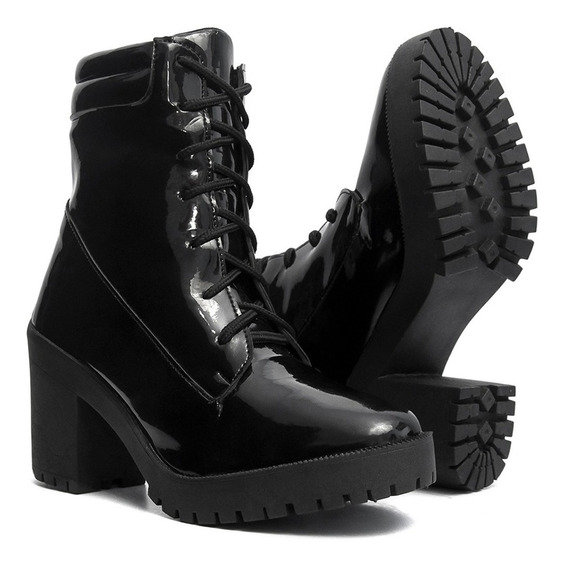 Bota Coturno Feminino Sapato Salto Alto Tratorada Salazari