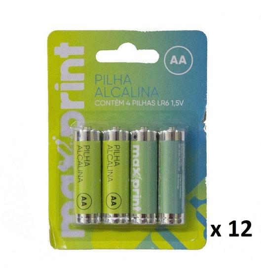 Pilha Alcalina Aa Maxprint - Caixa C/12 Blisters C/4 Un Cd.
