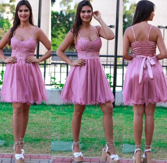 Vestido Festa Curto Debutante Luxo Modelo Boneca Cetim Nb