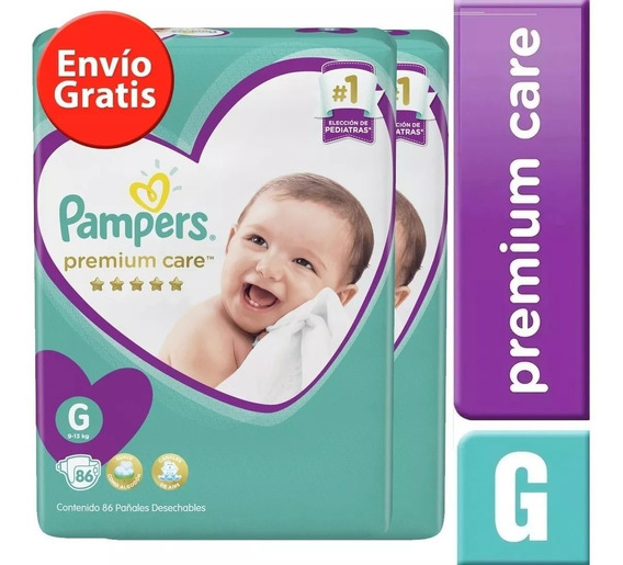 2 Paquetes Pañales Pampers Premium Care 144 Unidades Talla G