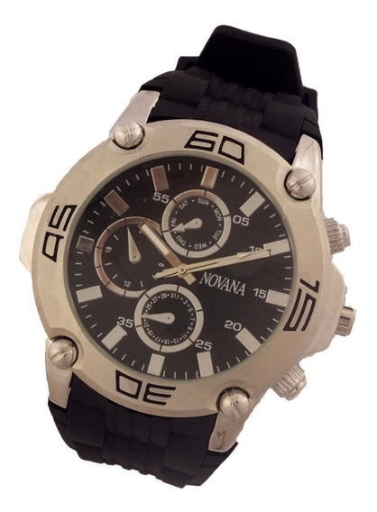 Relógio Masculino Novana De Pulso Pulseira Em Borracha B5700