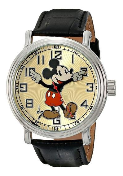 Reloj Disney Vintage Mickey Mouse Con Cuero Hombre