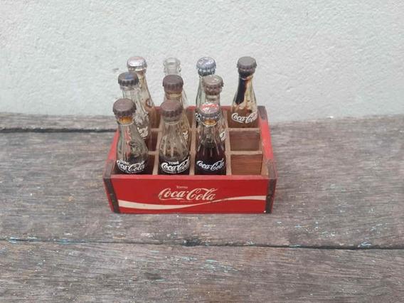 Cajon Miniatura En Madera De Coca Cola Con 10 Mini Botellas