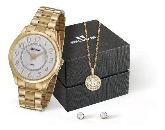 Relógio Seculus Feminino 77020lpsvds1k + Colar E Brincos