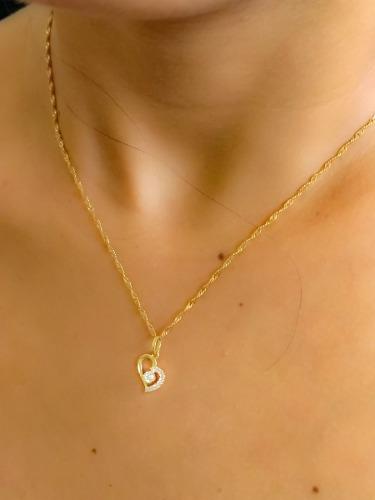 Cordão De Ouro + Pingente Coração De Pedras 18k Vivarjoi B05