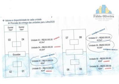 Apartamento Na Planta Tipo Sem Condomínio 1° Andar E Cobertura , Com 2 Dormitórios À Venda, 42 M² Por R$ 210.000 - Jardim Do Estádio - Santo André/sp - Ap1383