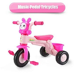 Qiaoniuniu Pedal Para Niños Triciclos Musicales Trikes Bici