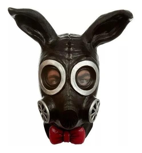 Máscara Gas Conejo Negro De Látex Deluxe