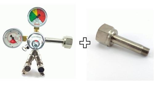 Imagem 1 de 4 de Regulador De Pressão Co2 Para Chopp 2 Saídas + Niple