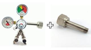 Regulador De Pressão Co2 Para Chopp 2 Saídas + Niple