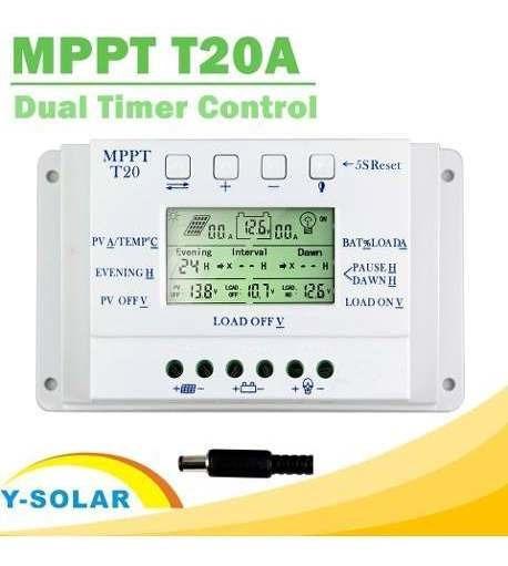 Controlador De Carga Solar 20a Mppt Eficiente Pwm 12v 24v