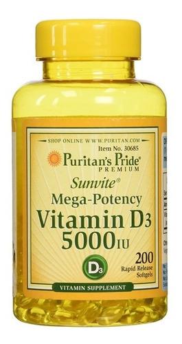 Vitamina D3 5000iu 200 Softgels Sist. Inmune Puritan's Pride