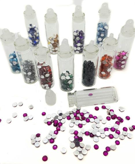 Set 12 Franquitos De Vidrio Con Apliques Colores Surtidos