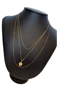 Correntinhas Kit Feminino Cordão Ouro 18k Pingente Coração