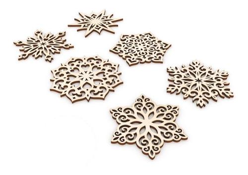 Imagen 1 de 3 de Kit 60 Copos De Nieve Navideñas 10cm Para Regalar Y Pintar
