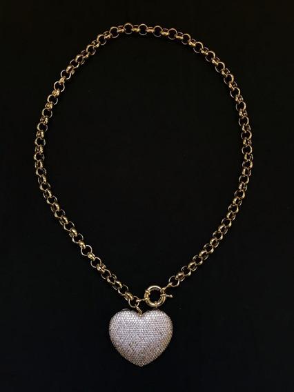 Colar Ouro 18k De Coração Cravejado De Zircônias