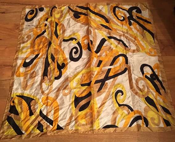 Padrisima Bufandita Mascada Lino Designer Amarilla Seda Orig