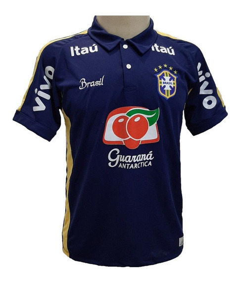 Camisa Brasil Treino Azul Preta Branca Amarela Copa