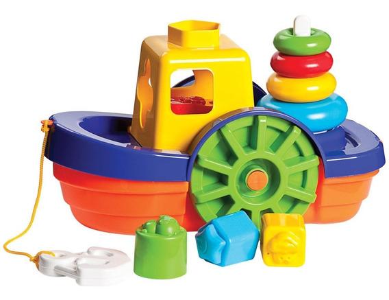 Brinquedo Educativo Encaixe Bebê Barco Didático Flutua