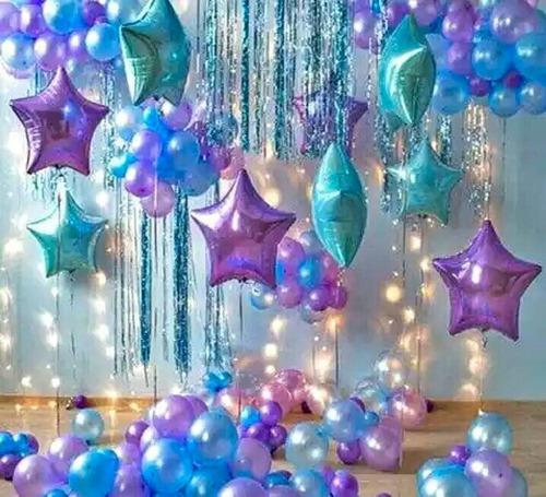 Kit Globo Estrellas Lila Morado Azul Fiesta Cumpleaños