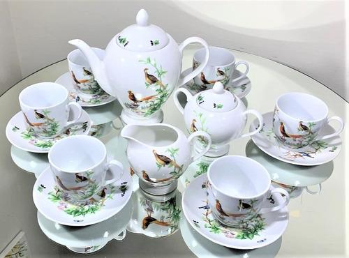 Imagem 1 de 6 de Jogo Para Chá 15 Peças Porcelana - Serve 6 Pessoas