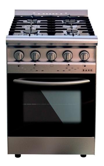 Cocina industrial Saho Jitaku 550 4 hornallas a gas plateada/negra 220V puerta con visor