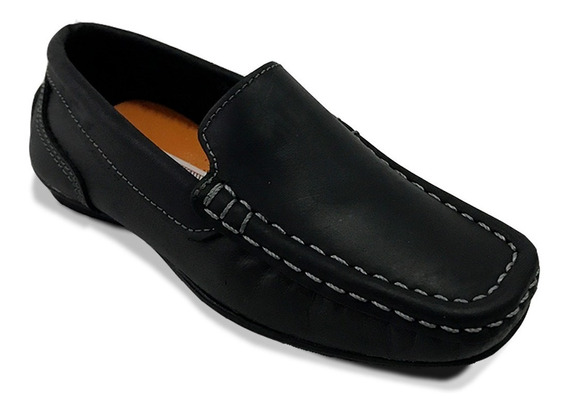 Zapato Colegial Mocasín 100% Cuero Niño Negro Café Elegante