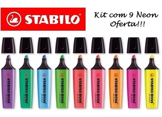 Marca Texto Stabilo Boss Neon Kit Com 9 Unidades - Oferta !!