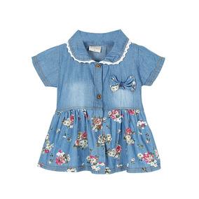Vestido Para Bebê Estampa Jeans- Pronta Entrega
