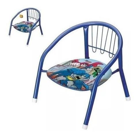 Cadeira Infantil Super Herois Metal C/ Apito No Assento