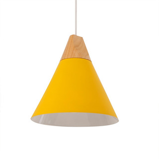Colgante Leuk Vesna Moderno Amarillo Madera Metal Led E27