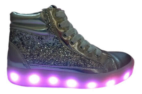 Botitas Zapatillas Glitter Luz Led Negro Plateado Plumitas