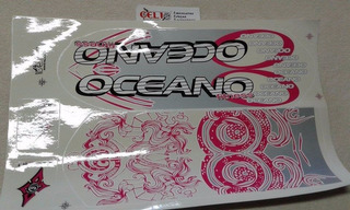 Cartela Adesivos Para Bicicleta Oceano Feminino Rosa