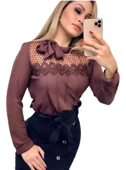Camisa Feminina Blusa Social Em Renda Luxo Frete Gratis