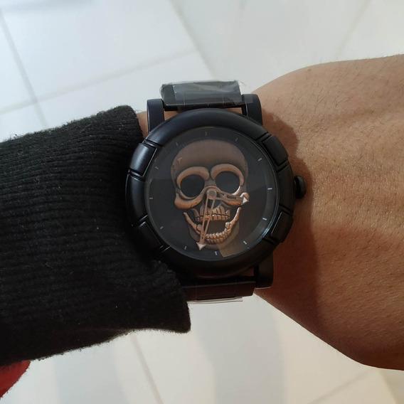 Relógio Caveira Masculino 3d Bronze Pulseira De Aço Preto